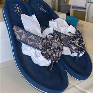 Authentic Coach Denim Flower Thong Sandals